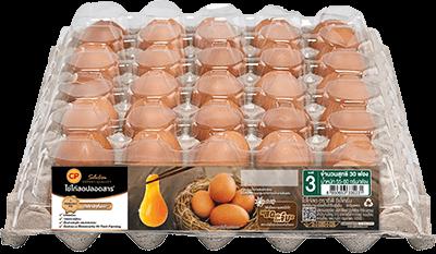 ไข่ไก่สดปลอดสาร ตราซีพี ซีเล็คชั่น เบอร์ 3 แพ็ค 30 ฟอง
