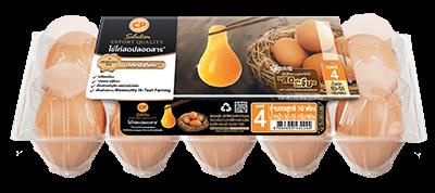 ไข่ไก่สดปลอดสาร ตราซีพี ซีเล็คชั่น เบอร์ 4 แพ็ค 10 ฟอง