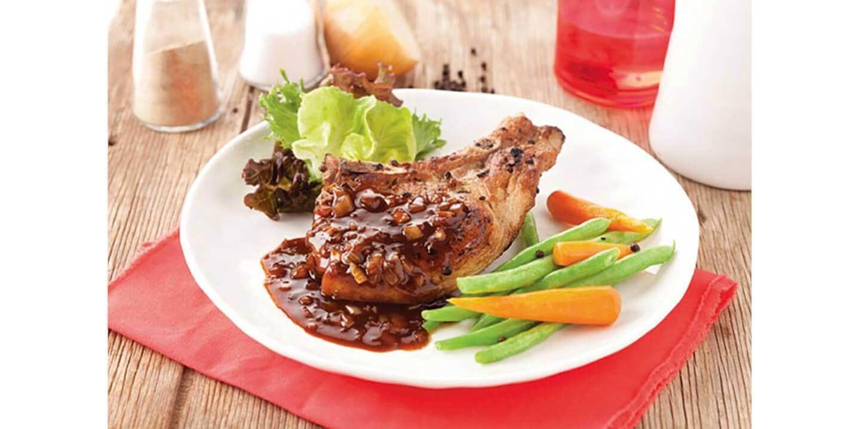 สเต็กหมูดำ คูโรบูตะ พริกไทยดำ